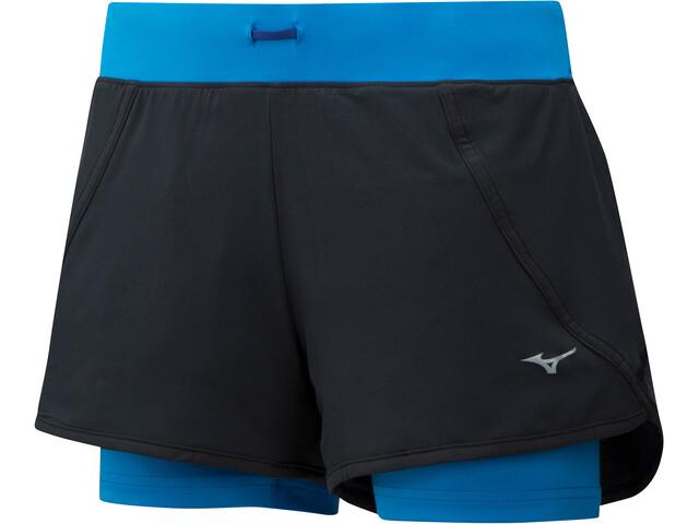 Mizuno Mujin 4.5 2en1 Shorts Mujer, black/brilliant blue